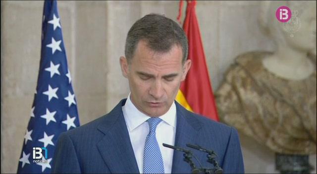 El+rei+Felip+VI+rep+al+palau+Reial+de+Madrid+el+president+Barack+Obama