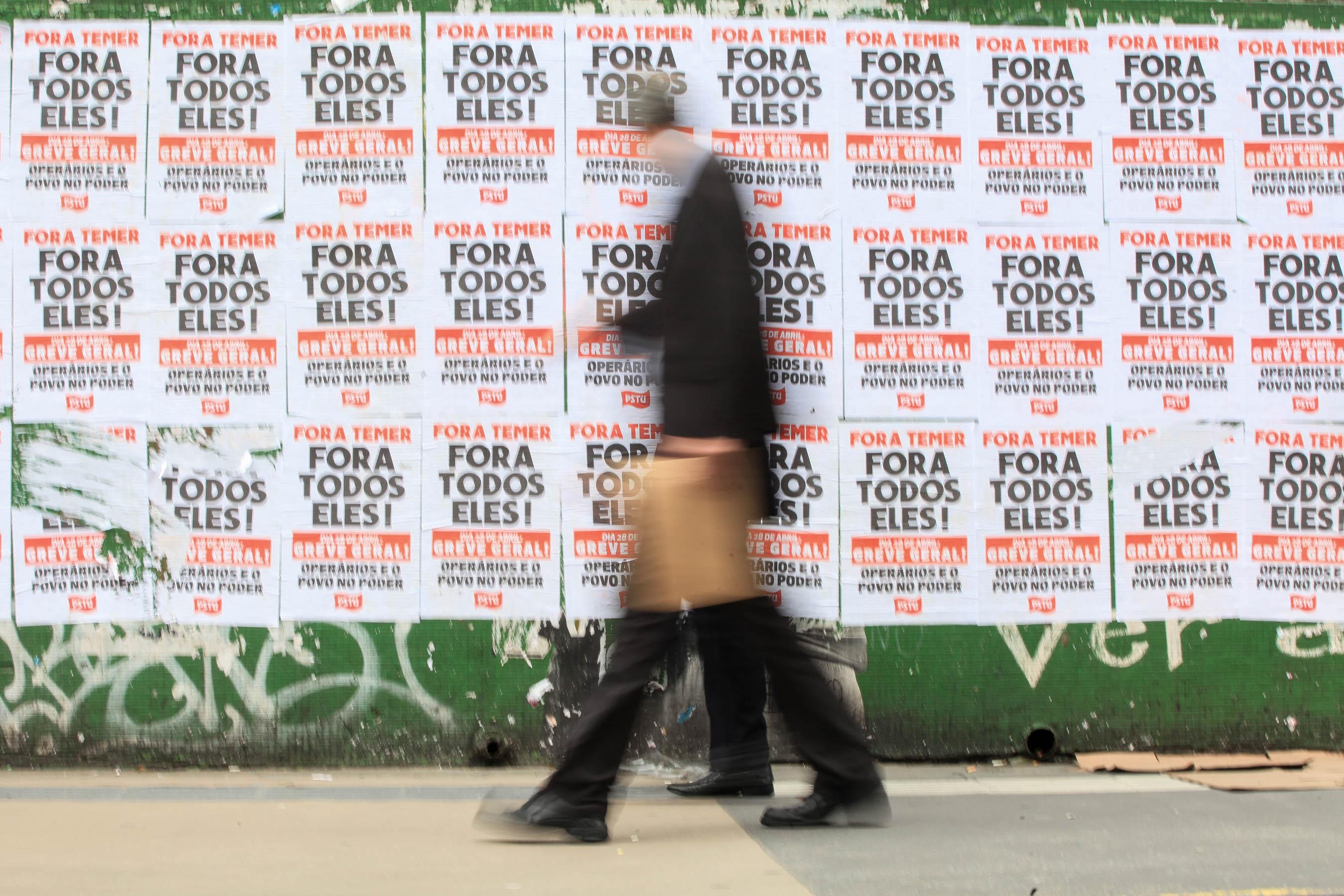 Convocatòria de vaga general a Brasil davant la reforma laboral impulsada per Michel Temer. /FERNANDO BIZERRA JR
