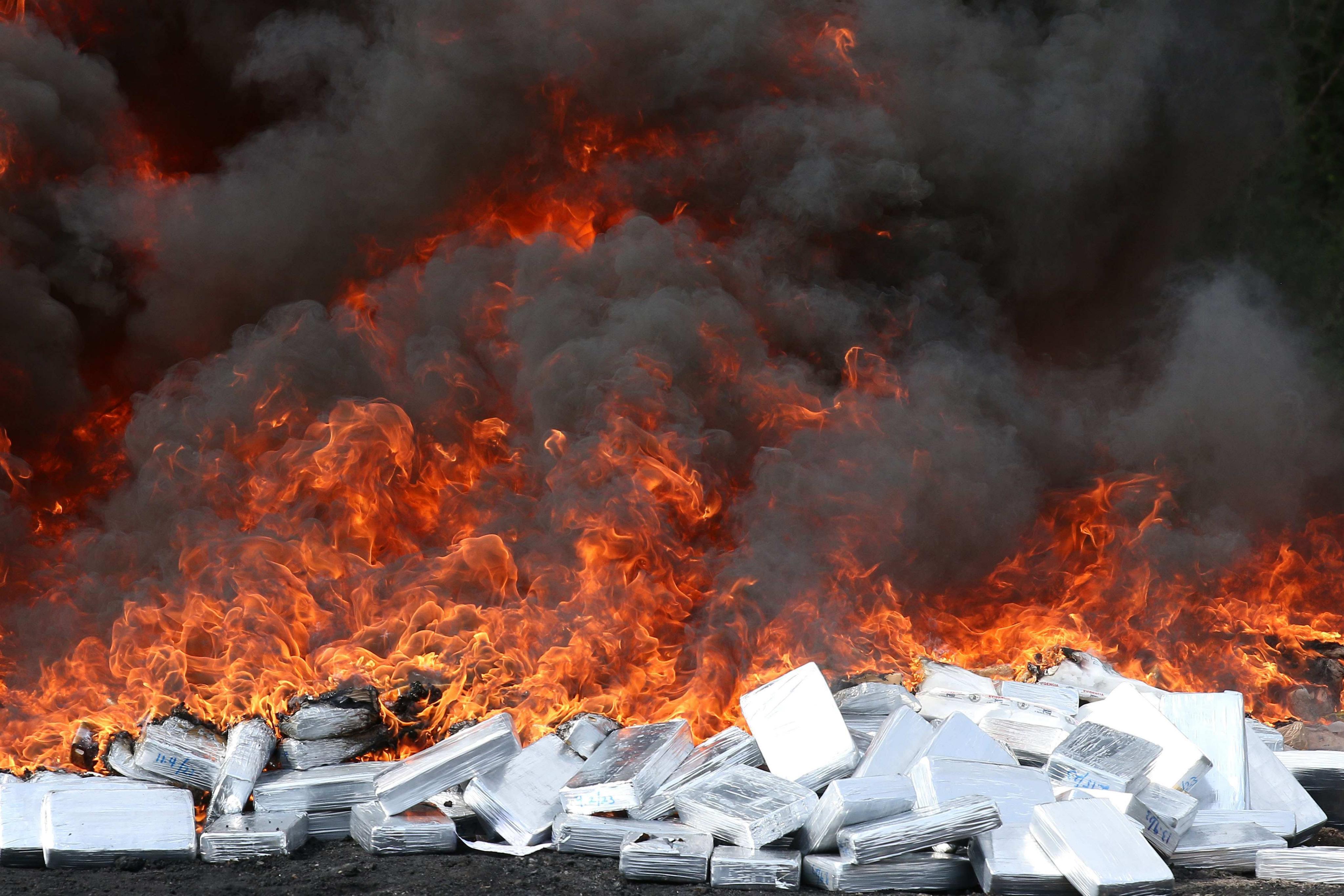 Les autoritats d'El Salvador destrueixen 1,8 tones de cocaïna i 32 quilos de marihuana. /RODRIGO SURA