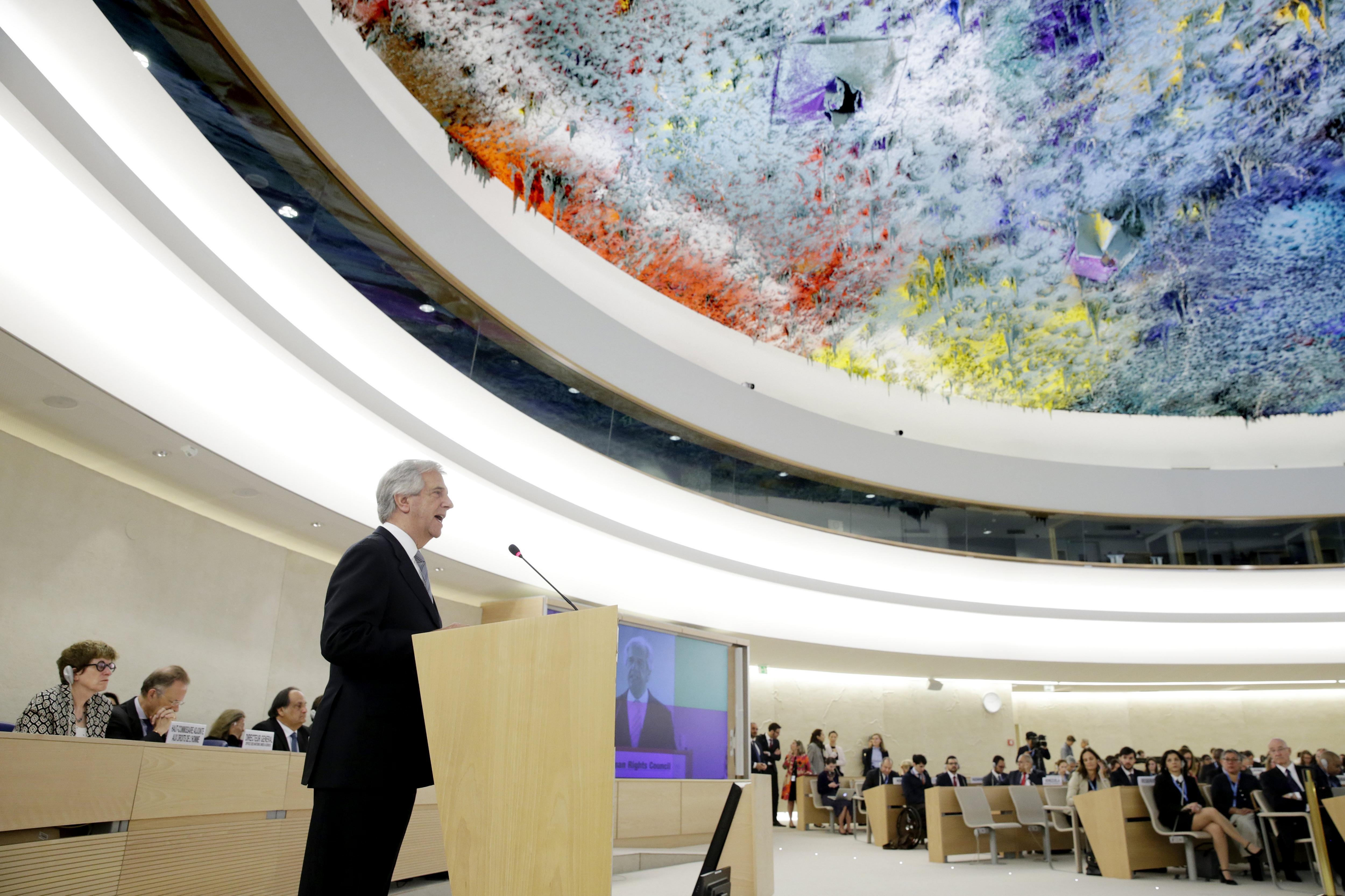 El president d'Uruguai, Tabaré Vázquez, intervé durant la 35a sessió del Consell de Drets Humans de l'ONU a Ginebra, Suïssa. /Magali Girardin