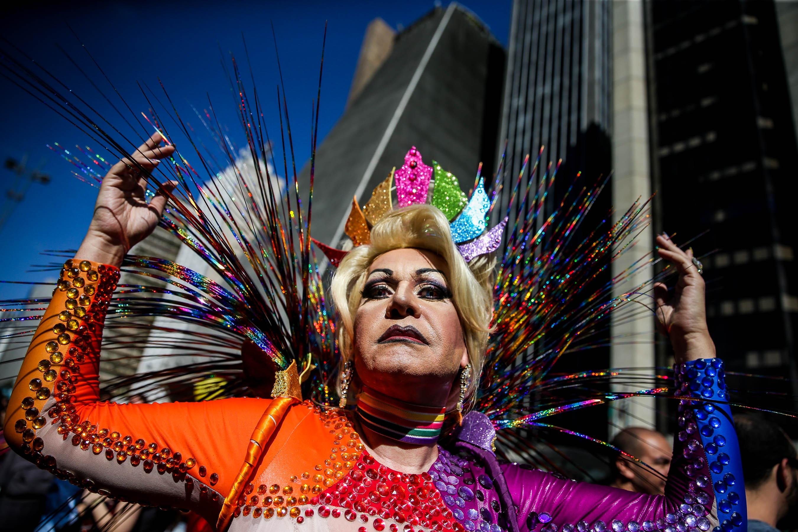 Fotografia presa durant la Desfilada de l'Orgull Homosexual de Sao Paulo. /FERNANDO BIZERRA JR
