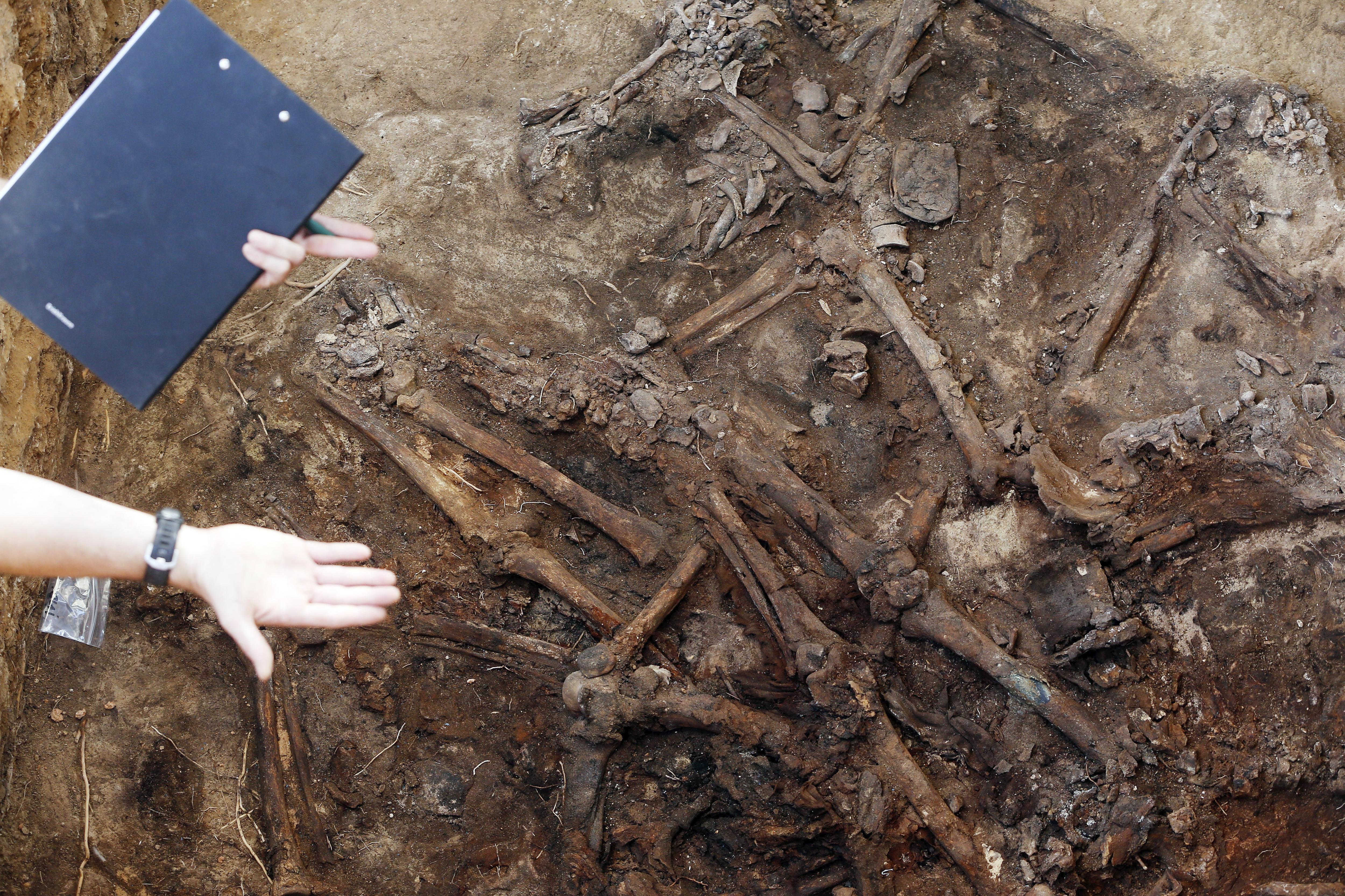 Un tècnic assenyala part de les restes òssies trobades en la fossa 113 del cementiri de Paterna, on tenen lloc els treballs d'excavació i exhumació d'una de les fosses més grans d'Espanya amb represaliats del franquisme. /KAI FÖRSTERLING