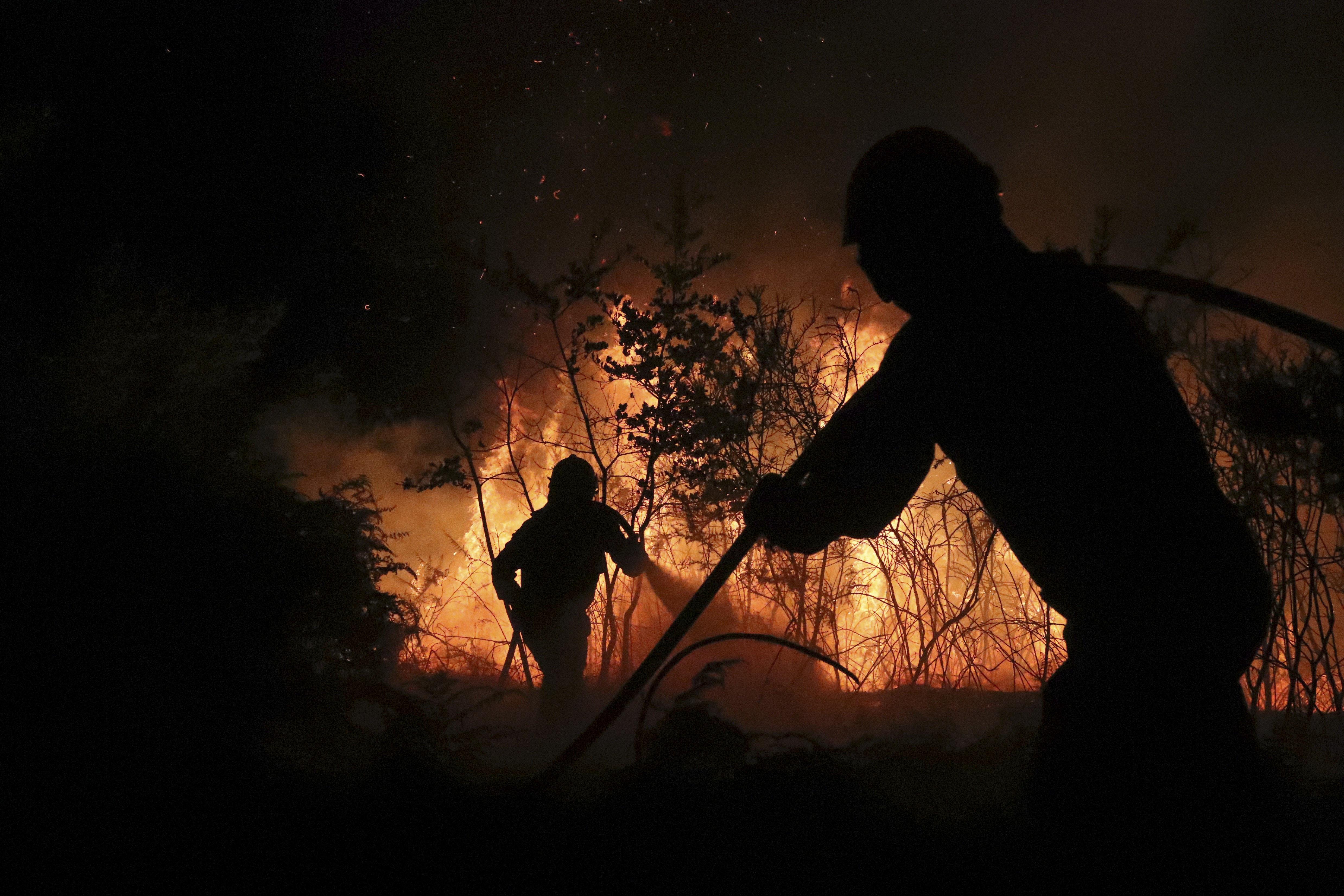 Bombers i brigades forestals apaguen un foc a Santiago de Compostel·la. /XÓAN REY