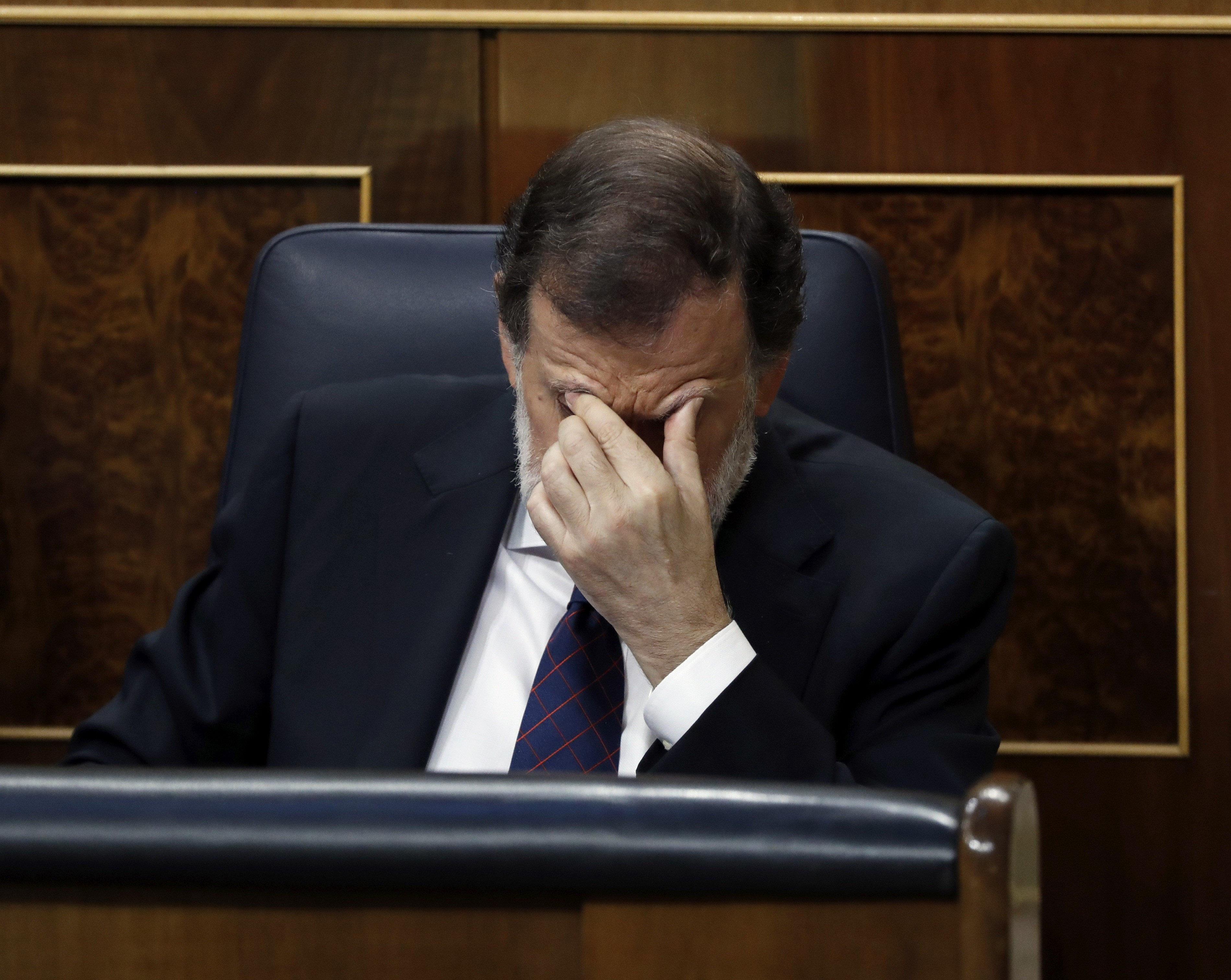 El president del Govern, Mariano Rajoy, després de comparèixer aquest dimecres en un ple extraordinari al Congrés dels Diputats (Madrid). /EMILIO NARANJO
