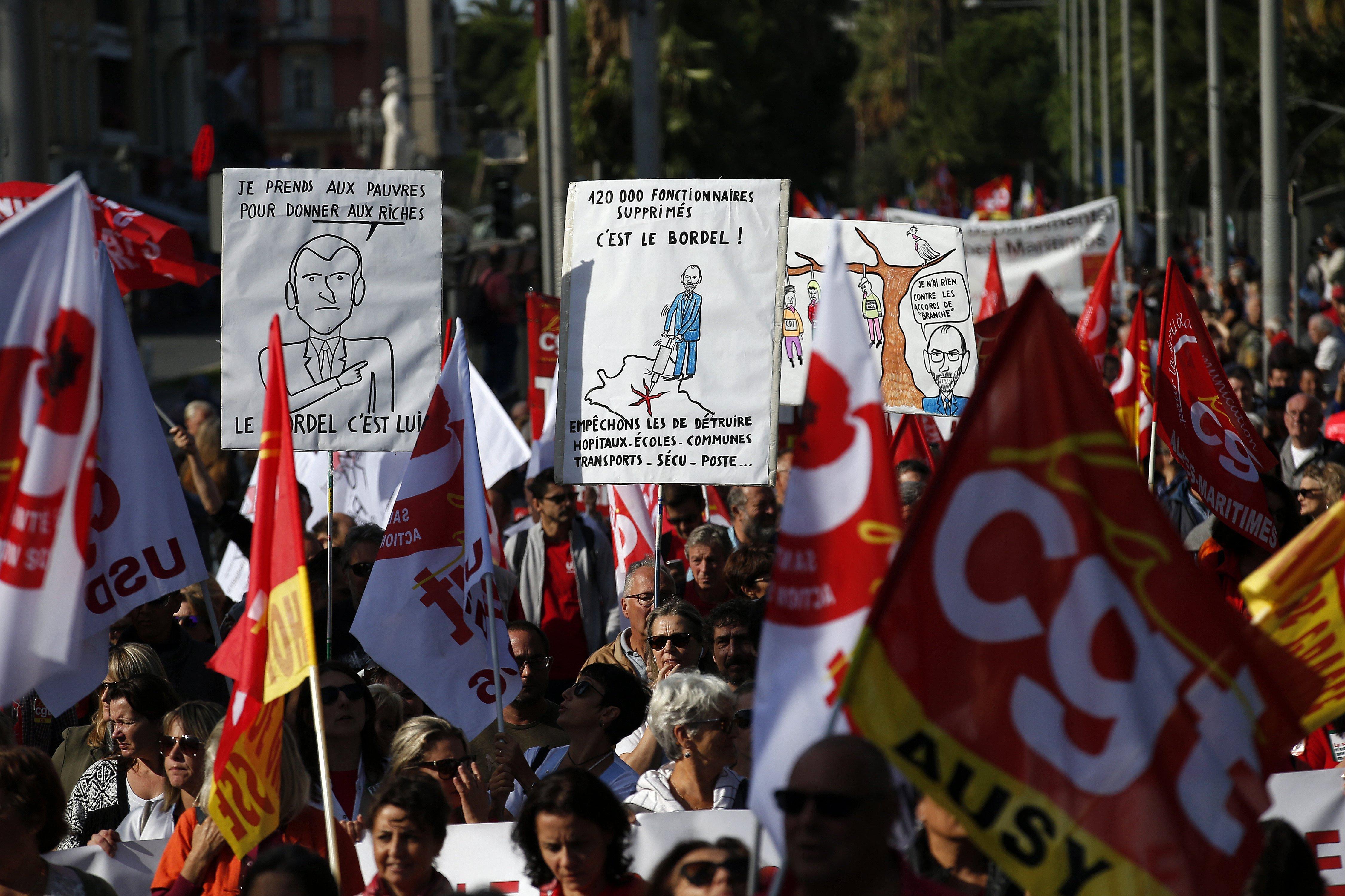 Manifestació contra la reforma laboral a Niça, França. /SEBASTIEN NOGIER
