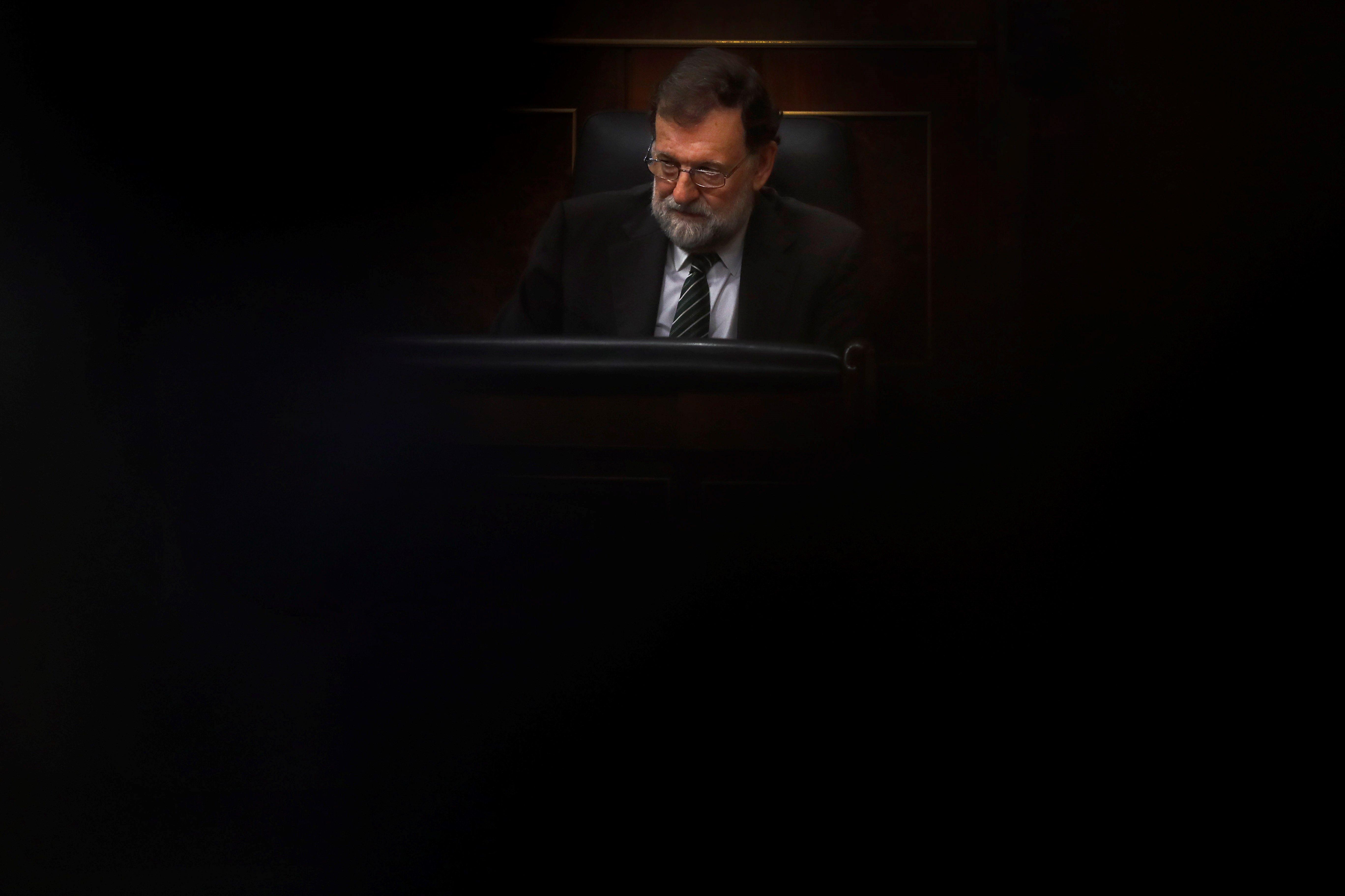 El president del Govern central, Mariano Rajoy, durant la sessió de control al Govern avui al Congrés dels Diputats. /JUAN CARLOS HIDALGO