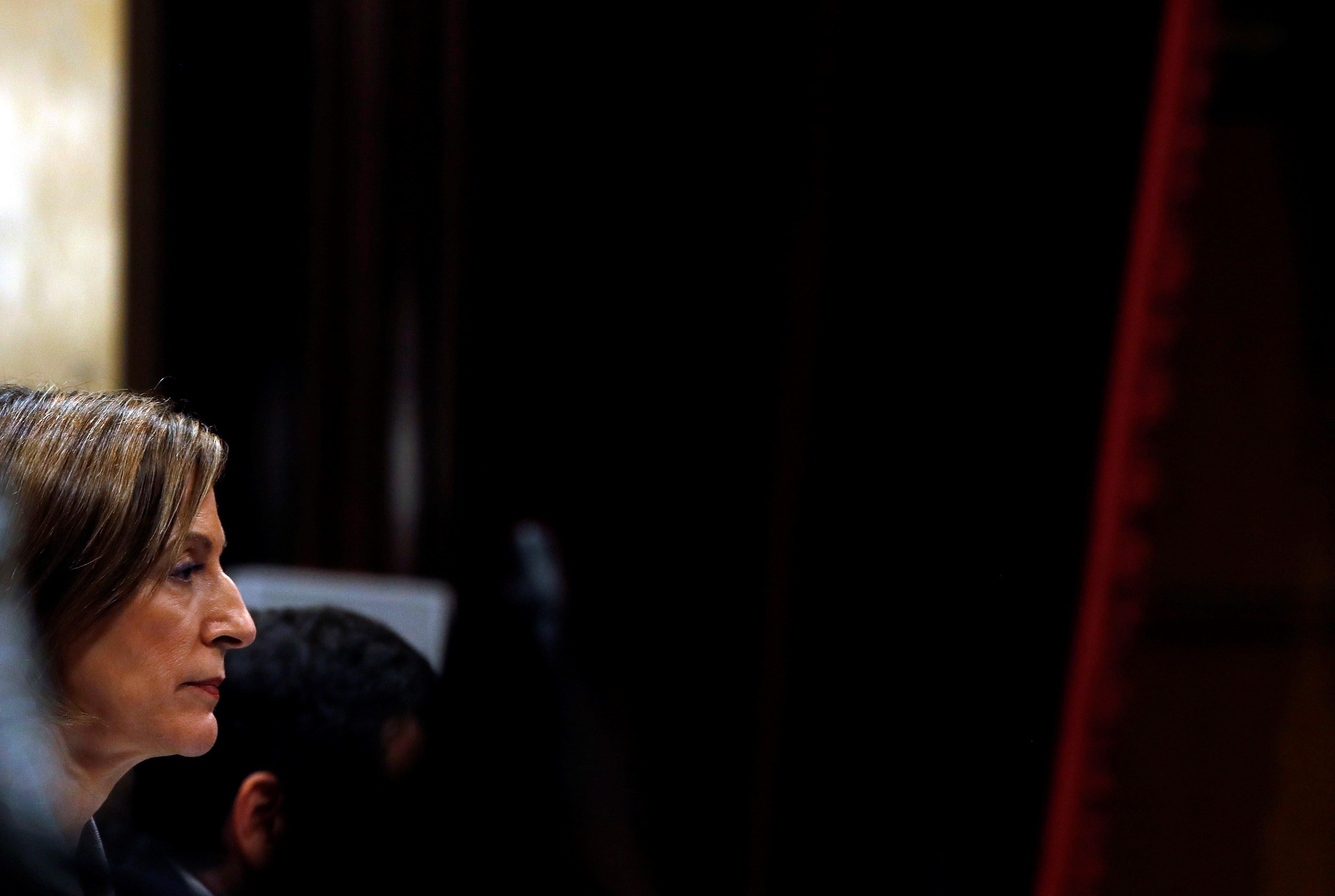 La presidenta del Parlament, Carme Forcadell, ha estat la darrera en votar. /EFE