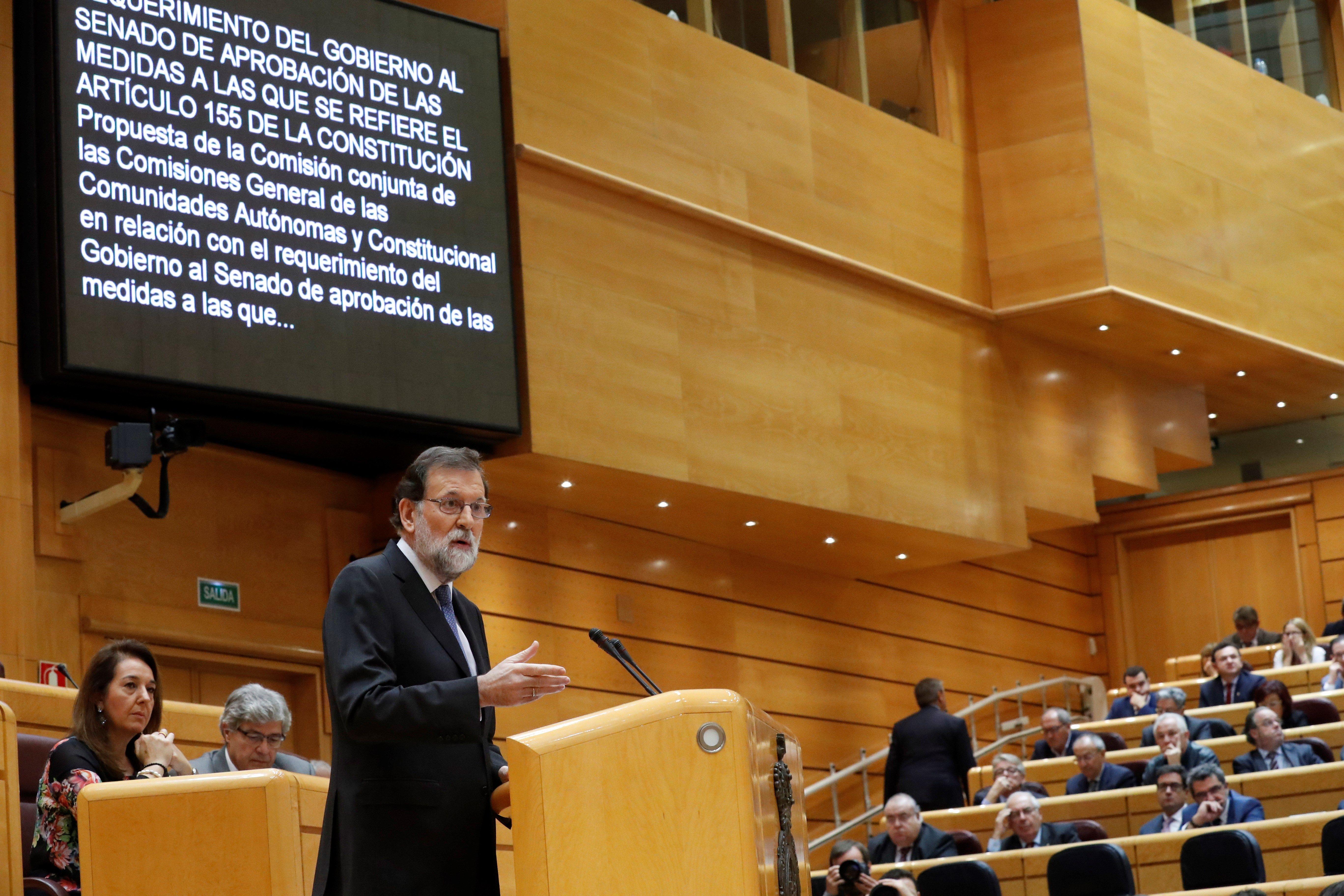 El president del govern, Mariano Rajoy, durant la seva intervenció en el ple extraordinari del Senat. /EFE
