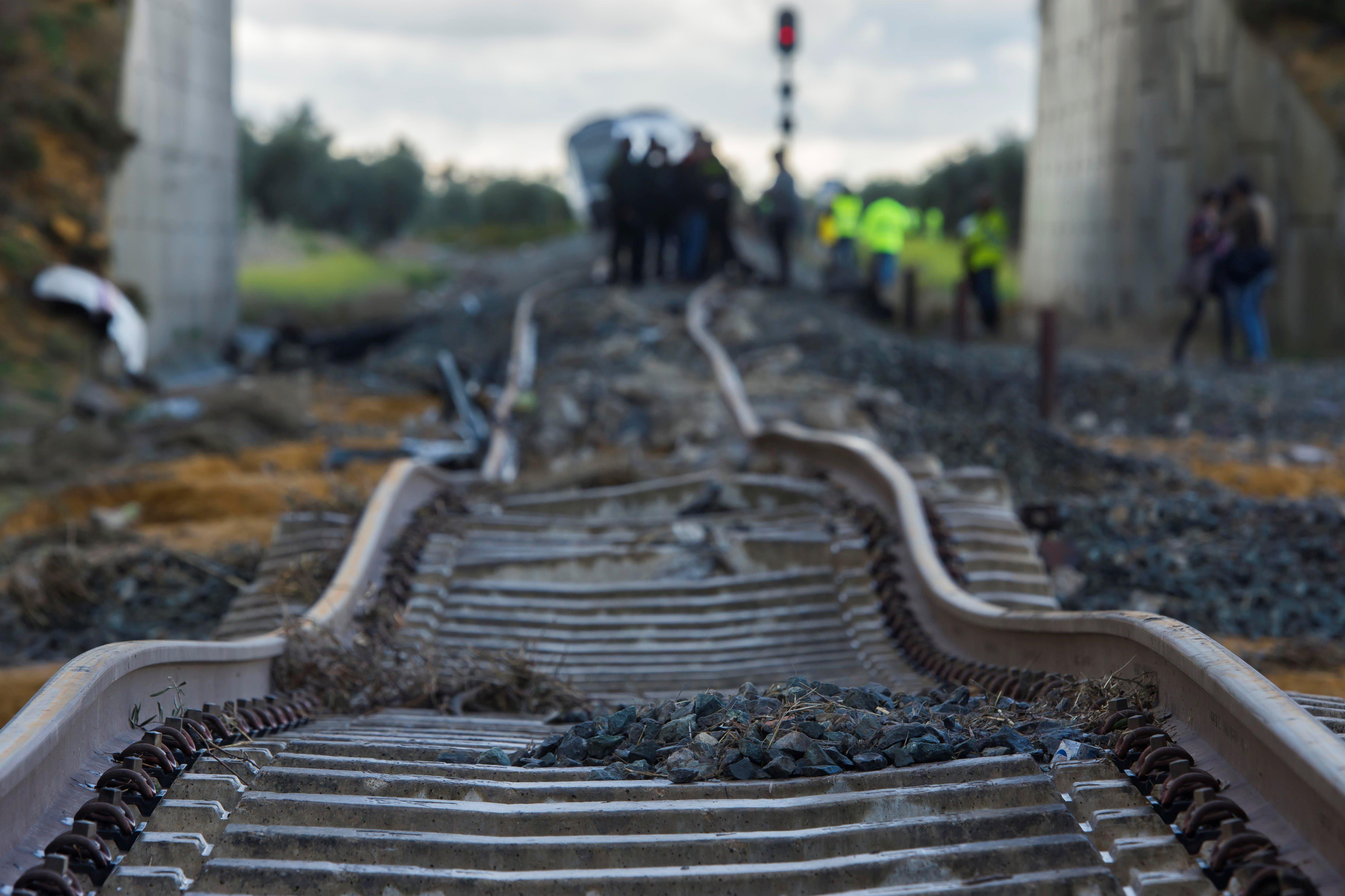 37 ferits, dos dels quals greus, en el descarrilament d'un tren que viatjava de Màlaga a Sevilla. /RAÚL CARO