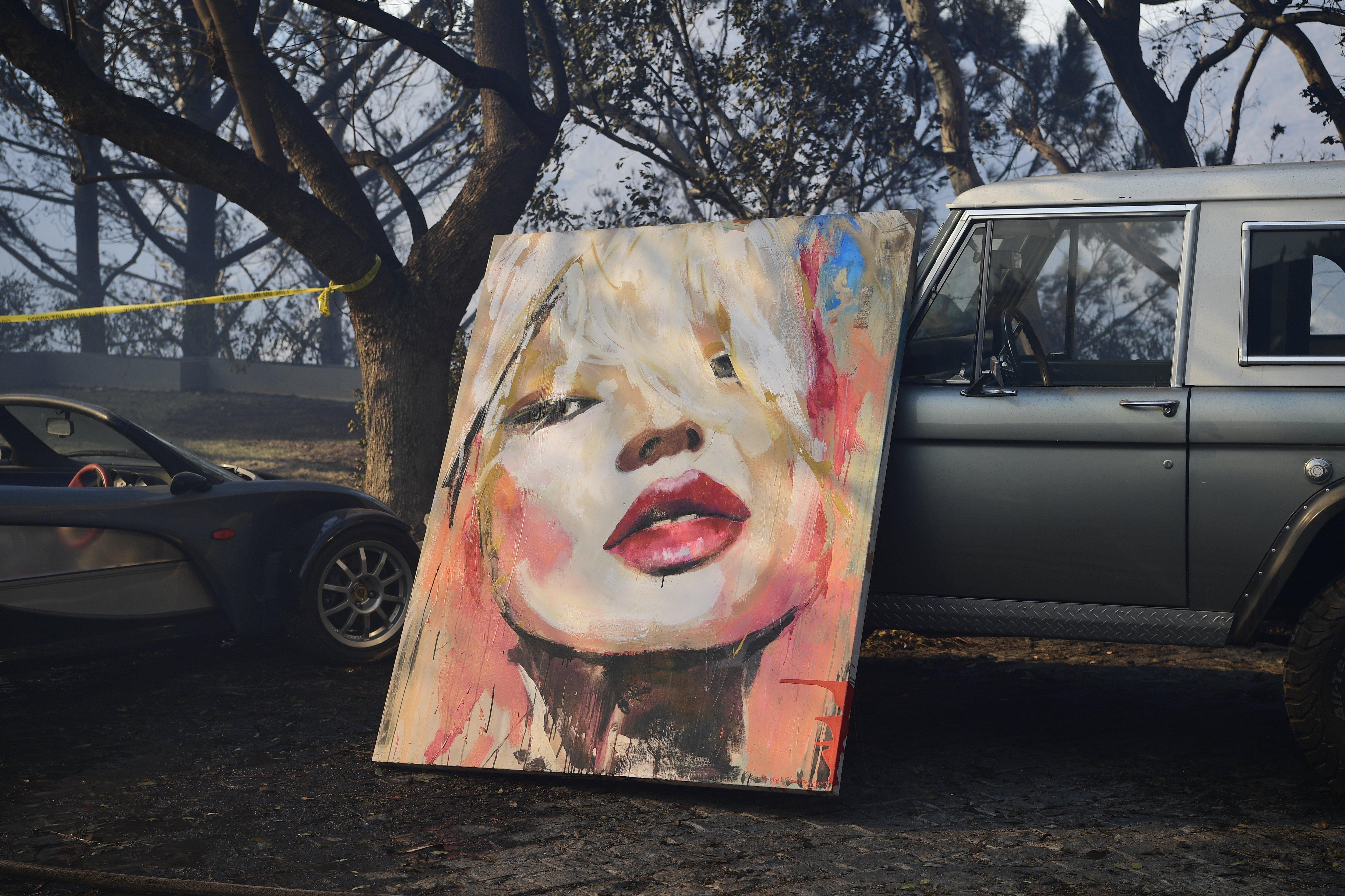 Bombers rescaten una pintura d'un incendi a Bel Air, Califòrnia (EUA). /JOHN CETRINO