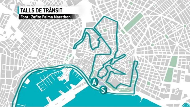 Talls+de+tr%C3%A0nsit+a+Ciutat+per+la+Zafiro+Palma+Marathon