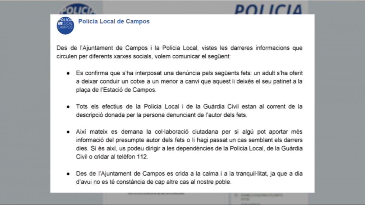 La+Policia+de+Campos+i+la+Gu%C3%A0rdia+Civil+cerquen+un+home+que+volia+fer+pujar+un+menor+al+seu+cotxe