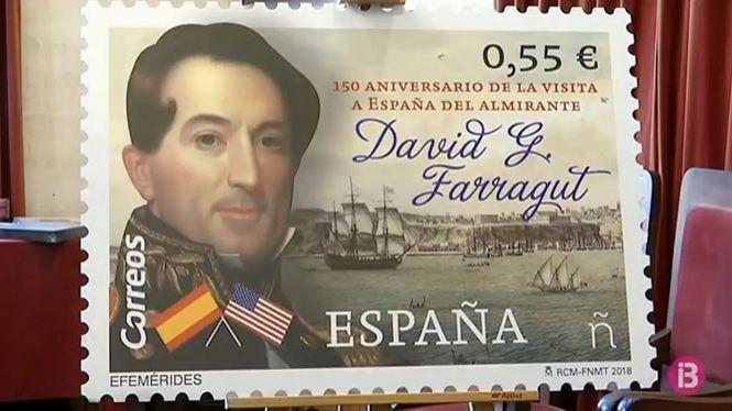 Correus+edita+un+segell+per+commemorar+la+visita+de+l%27almirall+Farragut+a+Ciutadella+fa+150+anys
