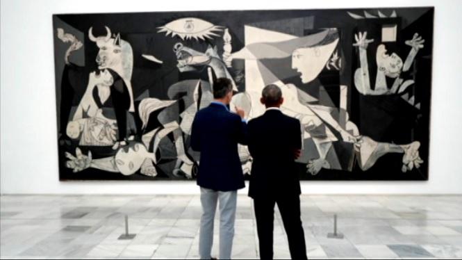 El+rei+Felip+i+l%27expresident+Barack+Obama+visiten+el+Museu+d%27Art+Reina+Sof%C3%ADa