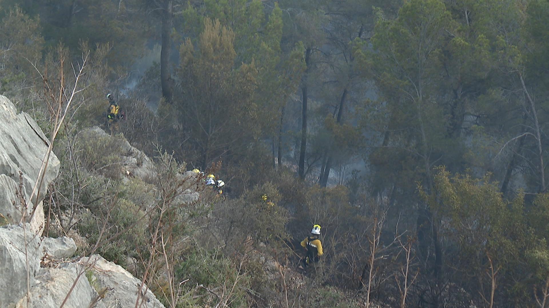 Preocupaci%C3%B3+entre+els+ve%C3%AFnats+per+un+incendi+forestal+al+Coll+de+sa+Creu+a+Palma