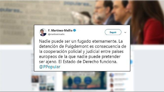 Els+partits+nacionals+reaccionen+per+mitj%C3%A0+de+les+xarxes+socials+a+la+detenci%C3%B3+de+Puigdemont